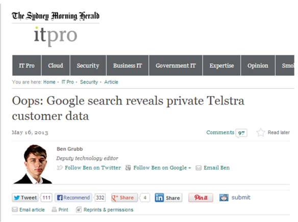 Telstra leak from Sydney Morning Herald