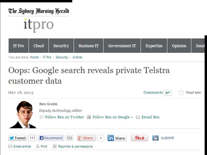 Telstra leak from Sydney Morning Herald