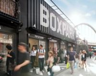 BoxPark Shoreditch, London, shops in shipping containers