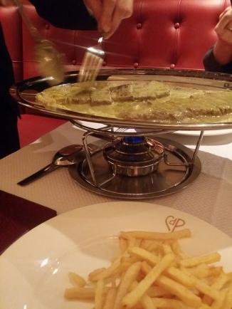 Chez Boubier Cafe de Paris Butter Entrecote Steak Knightsbridge