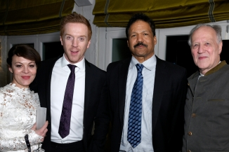 actor Damian Lewis (2nd left), his wife Helen McCrory (L), Peter M. Graham II (2nd right) and director Werner Herzog (R) attend Studio Babelsberg & Soho House Berlinale Party with GREY GOOSE at the 'QUEEN OF THE DESERT'