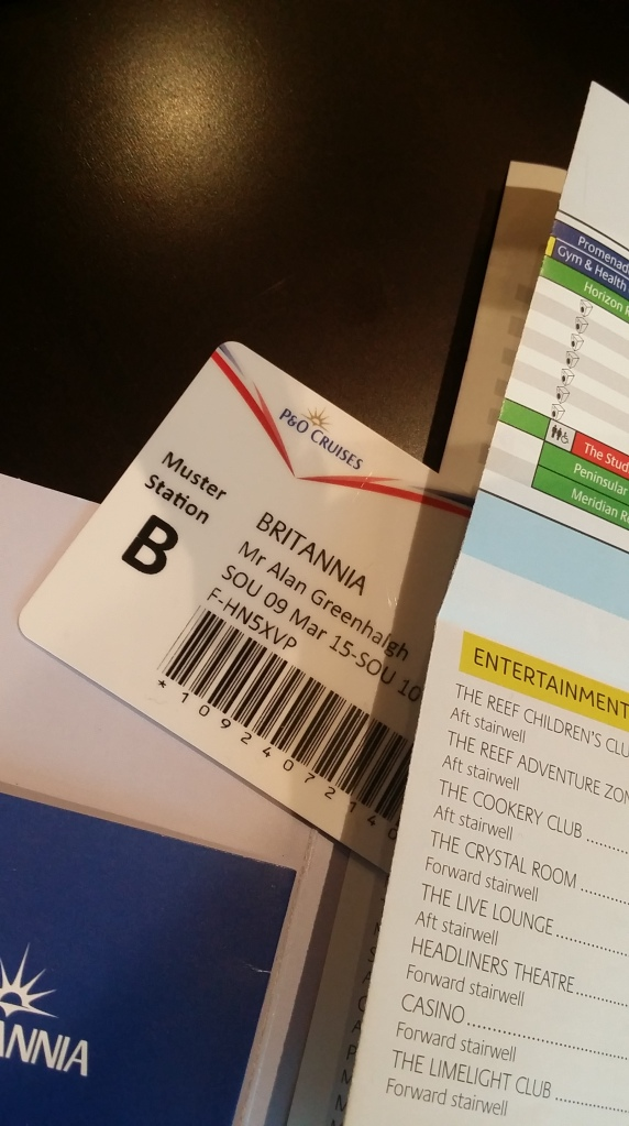 Britannia swipe card for room and on board purchases